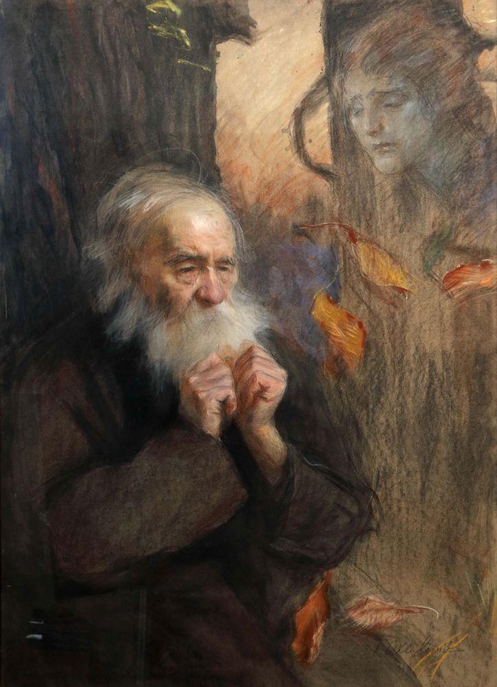 """Teodor Axentowicz (1859-1938) """"Jesień"""", źródło: Yves Siebers Auktionen"""