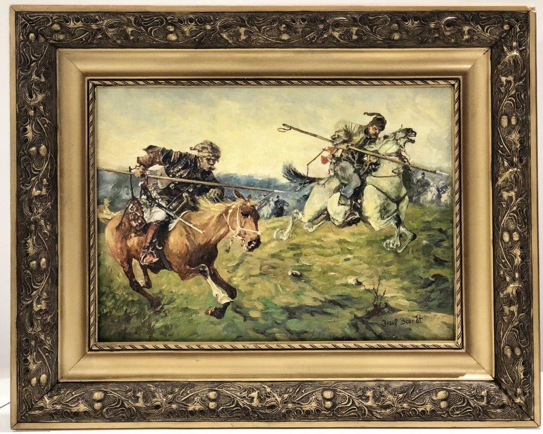 """Józef Brandt (1841-1915) """"Szarża kozaków"""", źródło: Black River Auction"""
