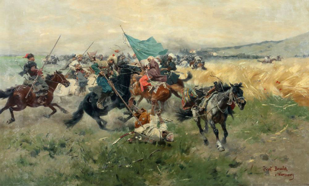"""Józef Brandt (1841-1915) """"Bitwa Kozaków z Tatarami pod Bałtą"""", źródło: Yves Siebers Auktionen"""
