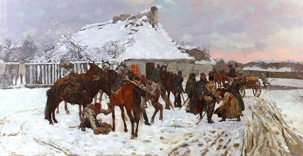 """Józef Chełmoński (1849-1914) """"Powstańcy przed karczmą"""", źródło: Yves Siebers Auktionen"""