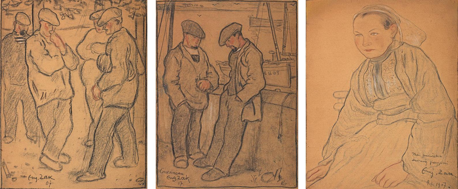 Eugeniusz Zak (1884-1926) Zestaw 3 prac z Bretanii, 1907 rok, źródło: Bonhams
