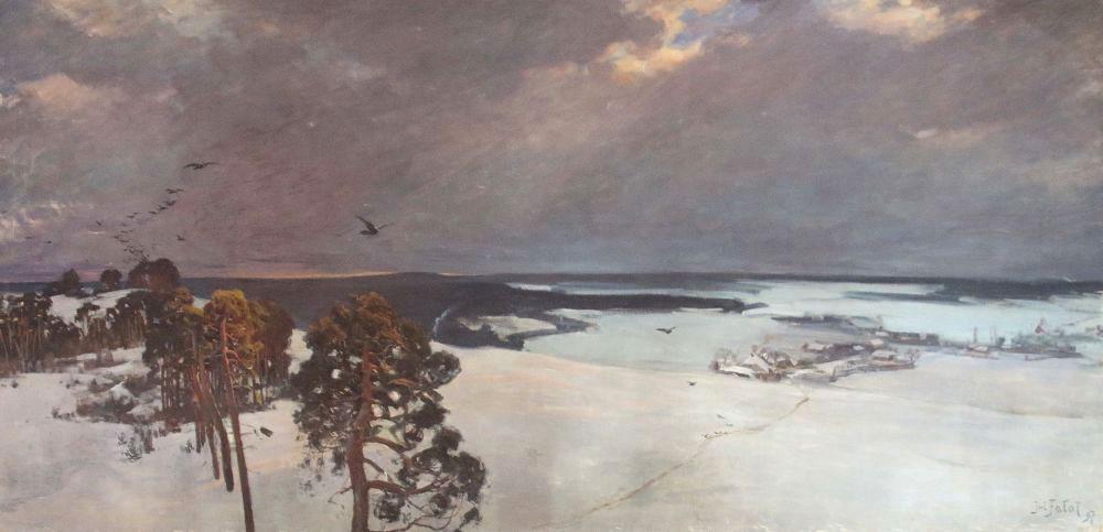 "Julian Fałat (1853-1929) ""Pejzaż zimowy"", źródło: Yves Siebers Auktionen"