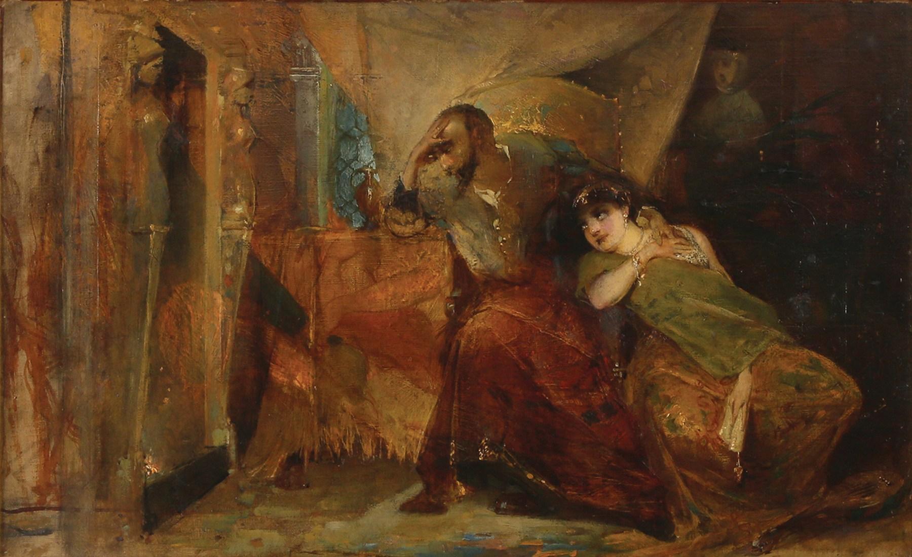 """Maurycy Gottlieb (1856-1879) """"Zygmunt II August i Barbara Giżanka"""", źródło: Tiroche Auction House"""
