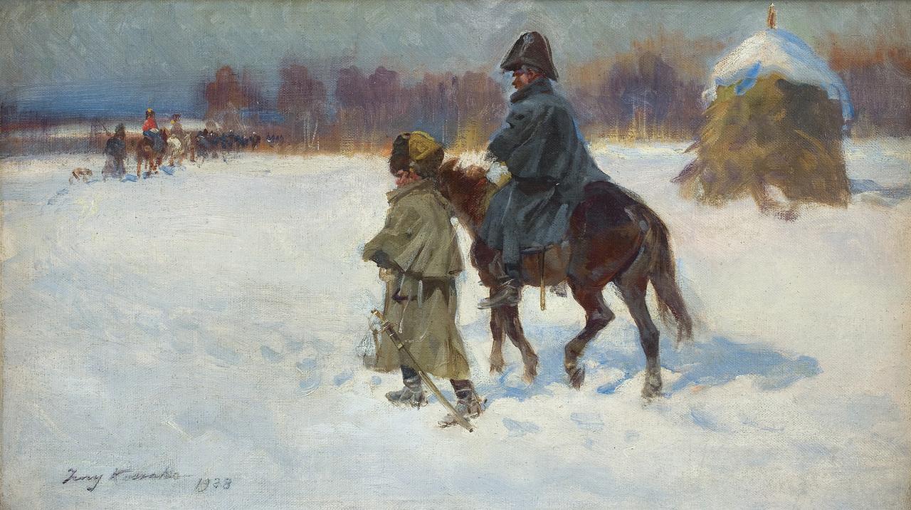 """U Ziembickiego nigdy nie brakowało prac Kossaków, tutaj sprzedawany przez jego skład obraz Jerzego Kossaka """"Odwrót spod Moskwy"""" z 1928 roku, źródło: Agra-Art"""
