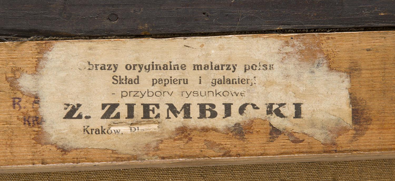 Etykieta ze składu Zygmunta Ziembickiego z obrazu Teodora Axentowicza, źródło: Desa Unicum