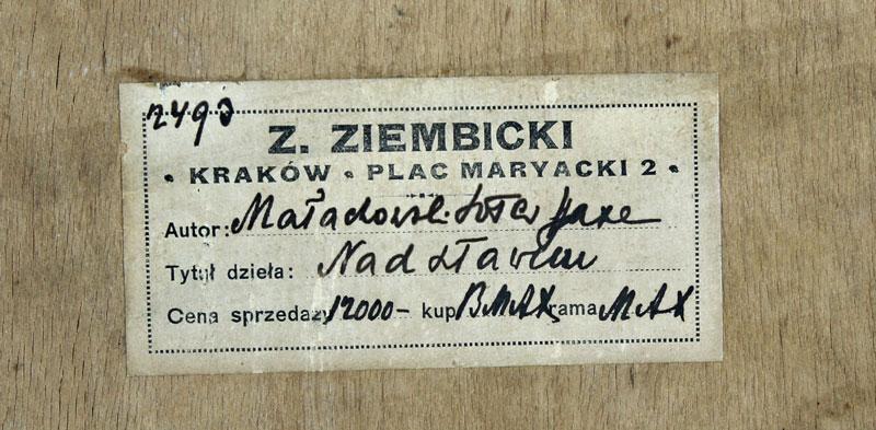 Nalepka sprzedażowa z obrazu Sotera Jaxy Małowskiego, źródło: Salon Dzieł Sztuki Connaisseur