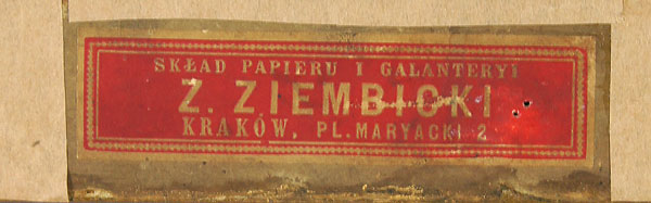 Nalepka ze składu Zygmunta Ziembickiego umieszczona na tyle obrazu Jerzego Kossaka, źródło: Salon Dzieł Sztuki Connaisseur