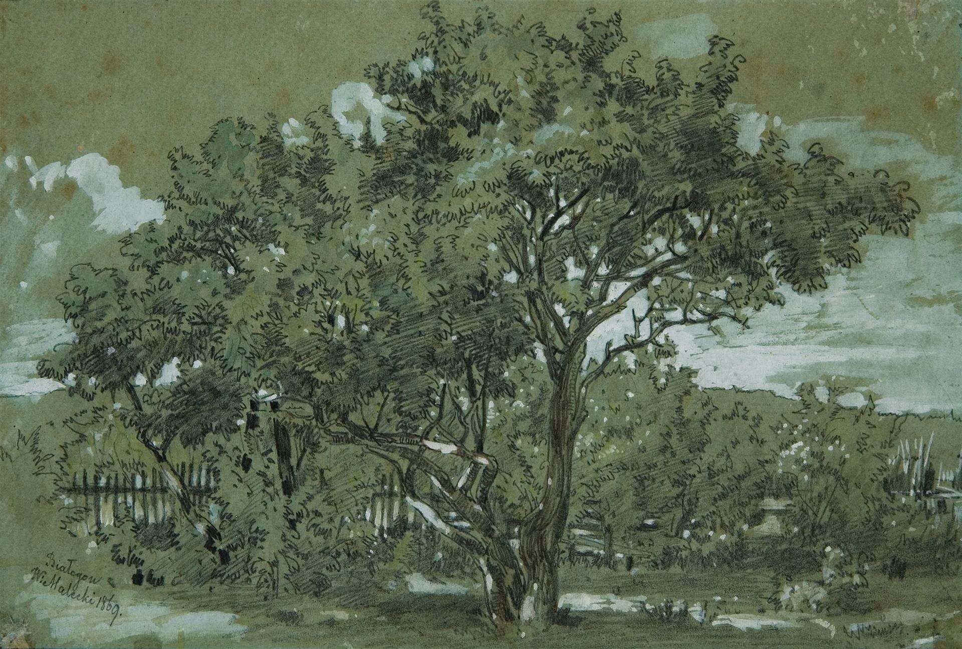 """Władysław Malecki (1836-1900) """"Krajobraz z Białogonu"""", 1869 rok, źródło: Muzeum Sztuki w Łodzi"""
