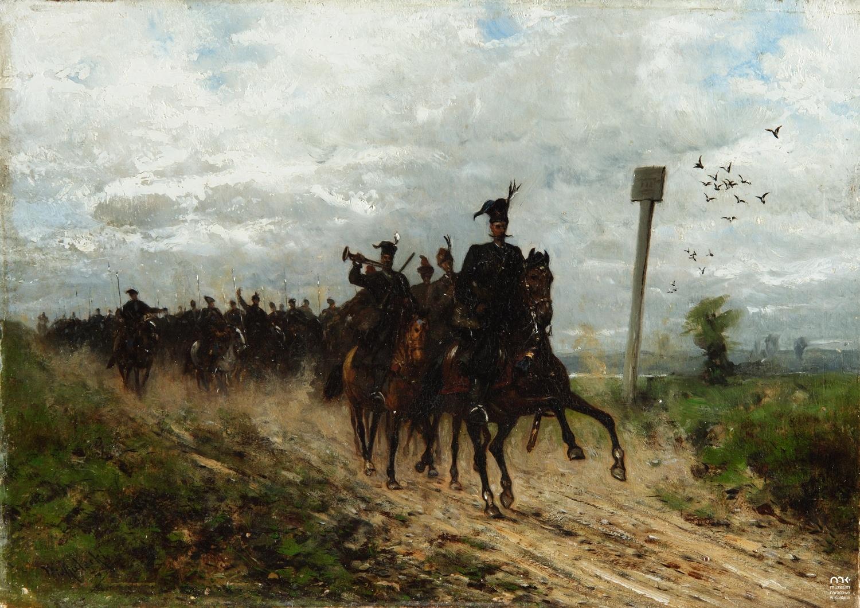 """Władysław Malecki (1836-1900) """"Oddział jazdy"""", 1882/1883 rok, źródło: Muzeum Narodowe w Kielcach"""