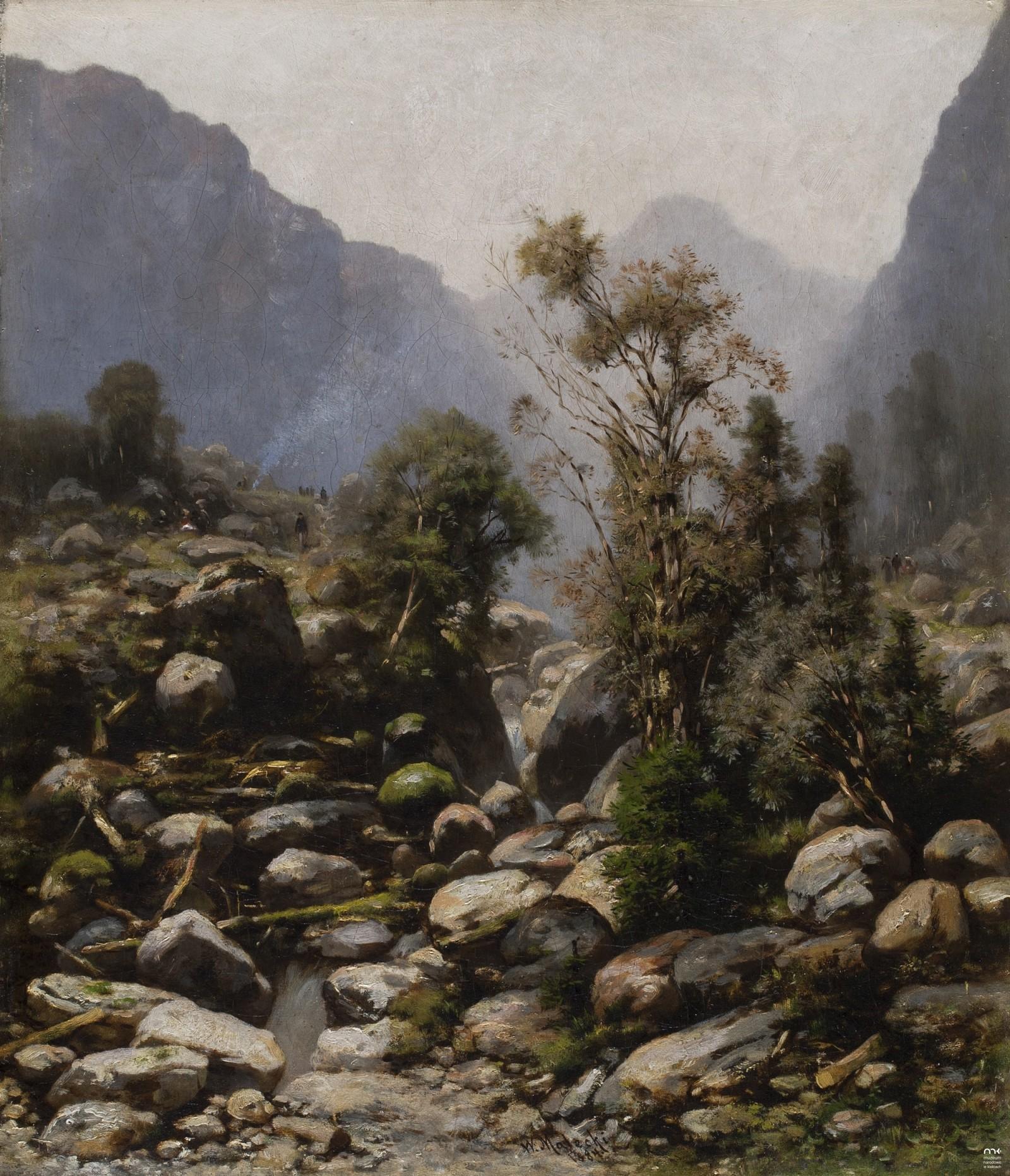 """Władysław Malecki (1836-1900) """"Pejzaż górski"""", 1884 rok, źródło: Muzeum Narodowe w Kielcach"""