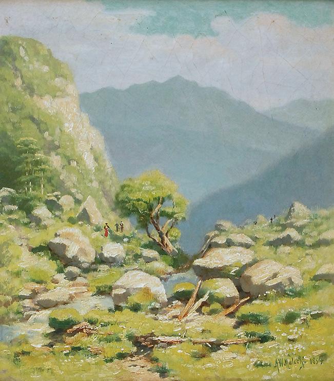 """Władysław Malecki (1836-1900) """"Pejzaż górski z pochylonym drzewem"""", 1894 rok, źródło: Rempex"""