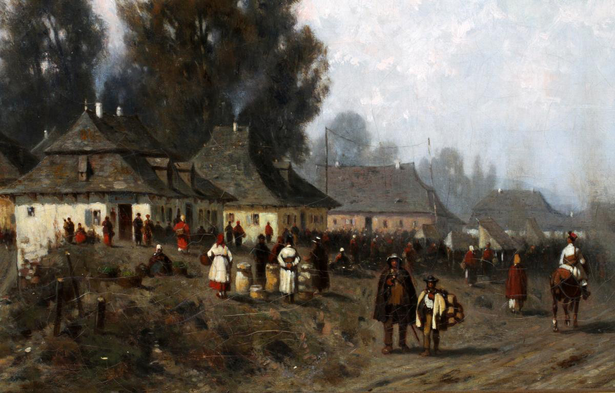 """Władysław Malecki (1836-1900) """"W małym miasteczku"""", źródło: DuMouchelles"""