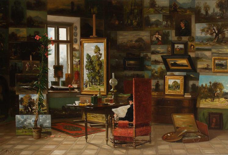 """Władysław Malecki (1836-1900) """"W pracowni"""", 1883 rok, źródło: Muzeum Narodowe w Warszawie"""