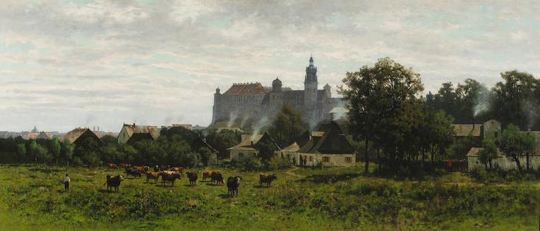 """Władysław Malecki (1836-1900) """"Widok na Wawel"""", 1873 rok, źródło: Muzeum Narodowe w Warszawie"""