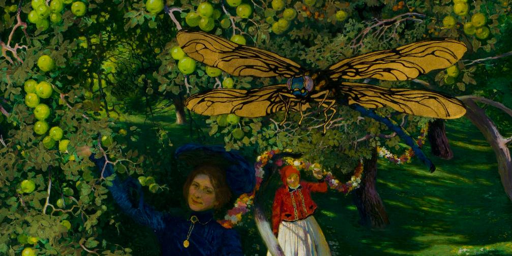 """Józef Mehoffer (1869-1946) """"Dziwny ogród"""", fragment, 1903 rok, źródło: Muzeum Narodowe w Warszawie"""