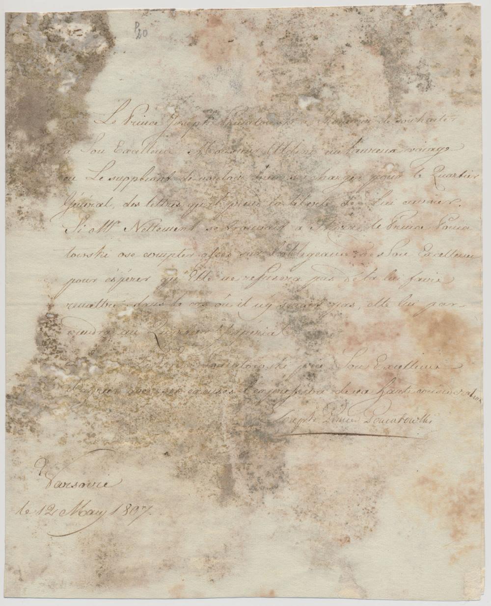 List z podpisem Księcia Józefa Poniatowskiego (1762-1813), źródło: Alexander Historical Auctions LLC