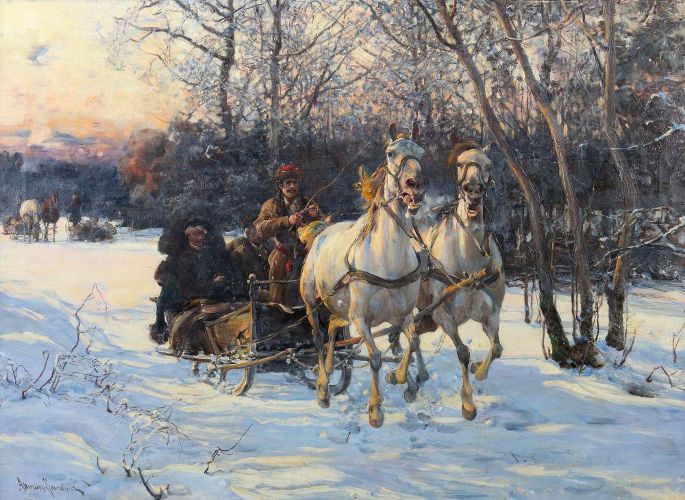 """Alfred Wierusz Kowalski (1849-1915) """"Wesoła sanna"""", źródło: Yves Siebers Auktionen"""