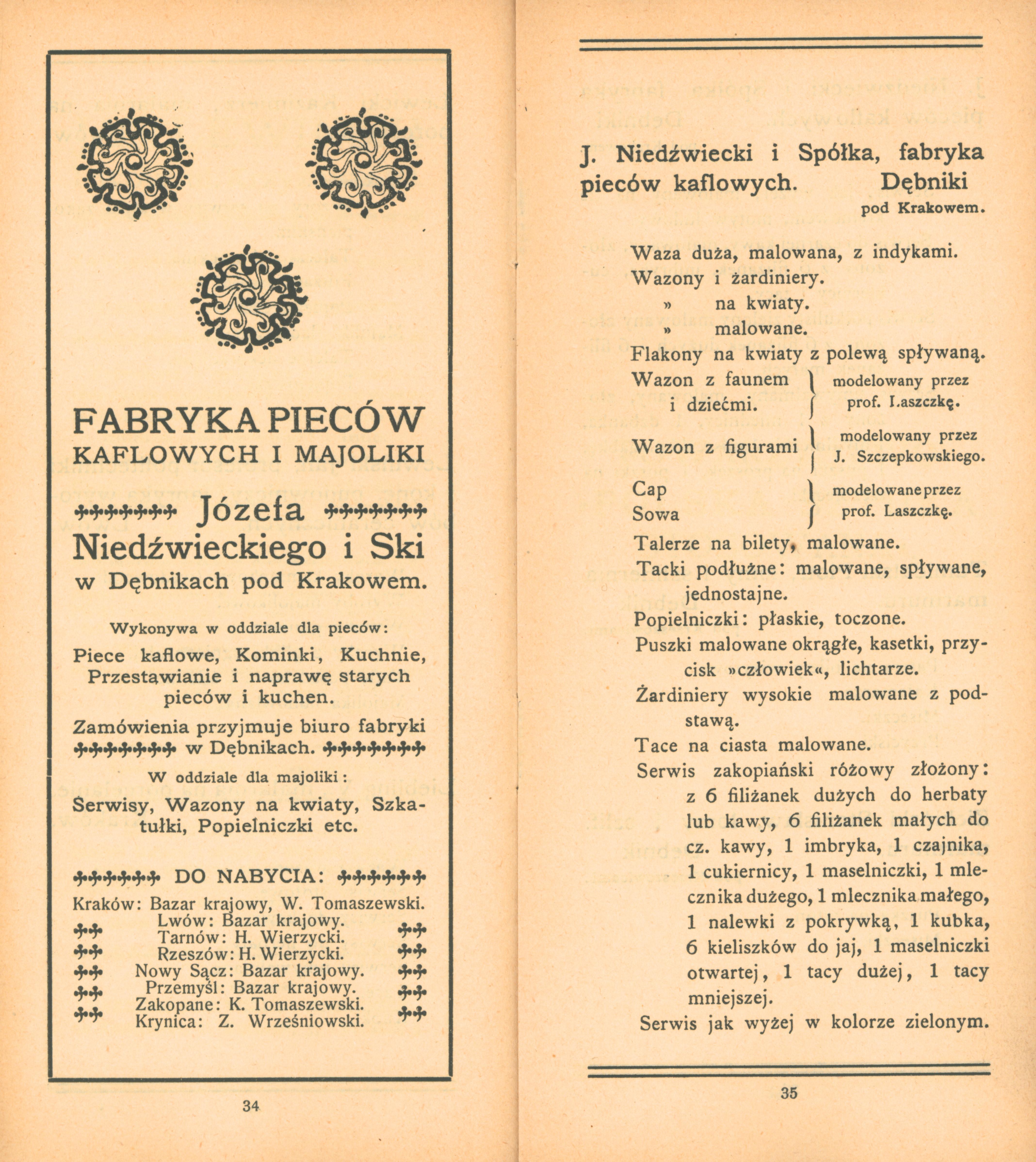 Katalog wystawy z wyrobami fabryki Niedźwieckiego, Kraków, 1905 rok