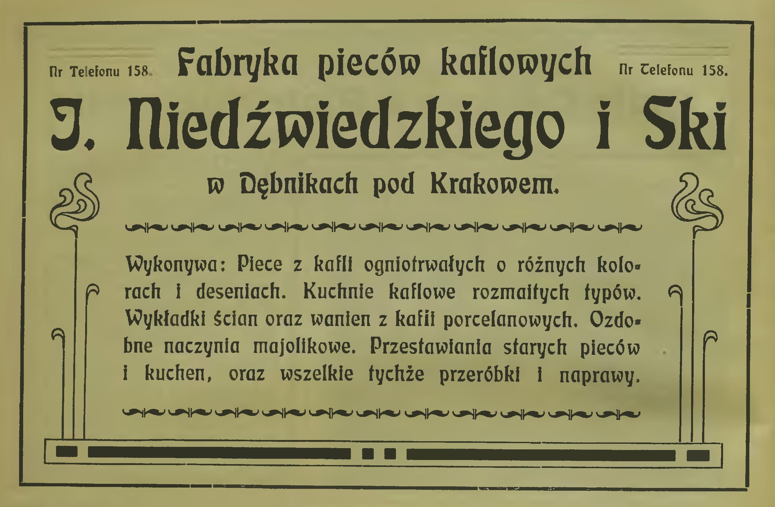 """Reklama fabryki Niedźwieckiego, źródło: """"Kalendarz krakowski"""", 1907 rok"""