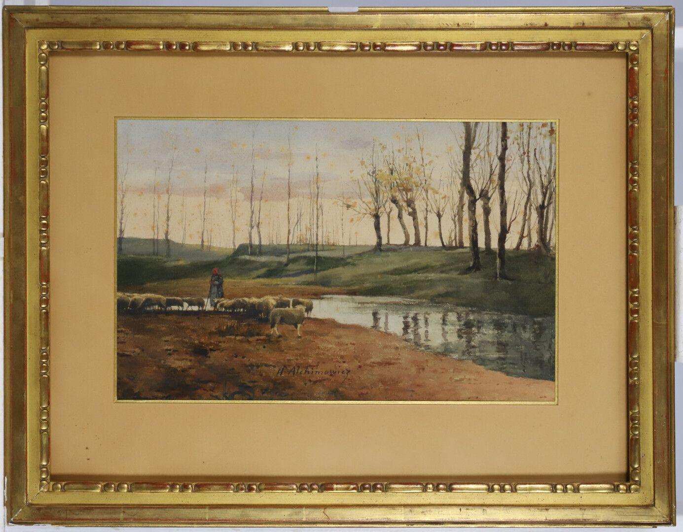 """Hiacynt Alchimowicz (1841-1897) """"Owce u wodopoju"""", źródło: BAYEUX ENCHERES"""