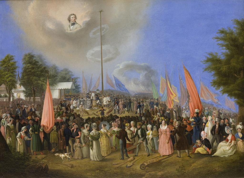 """Jan Nepomucen Bizański (1804-1878)  """"Sypanie Kopca Kościuszki"""", 1838 rok, źródło: Muzeum Narodowe w Krakowie"""
