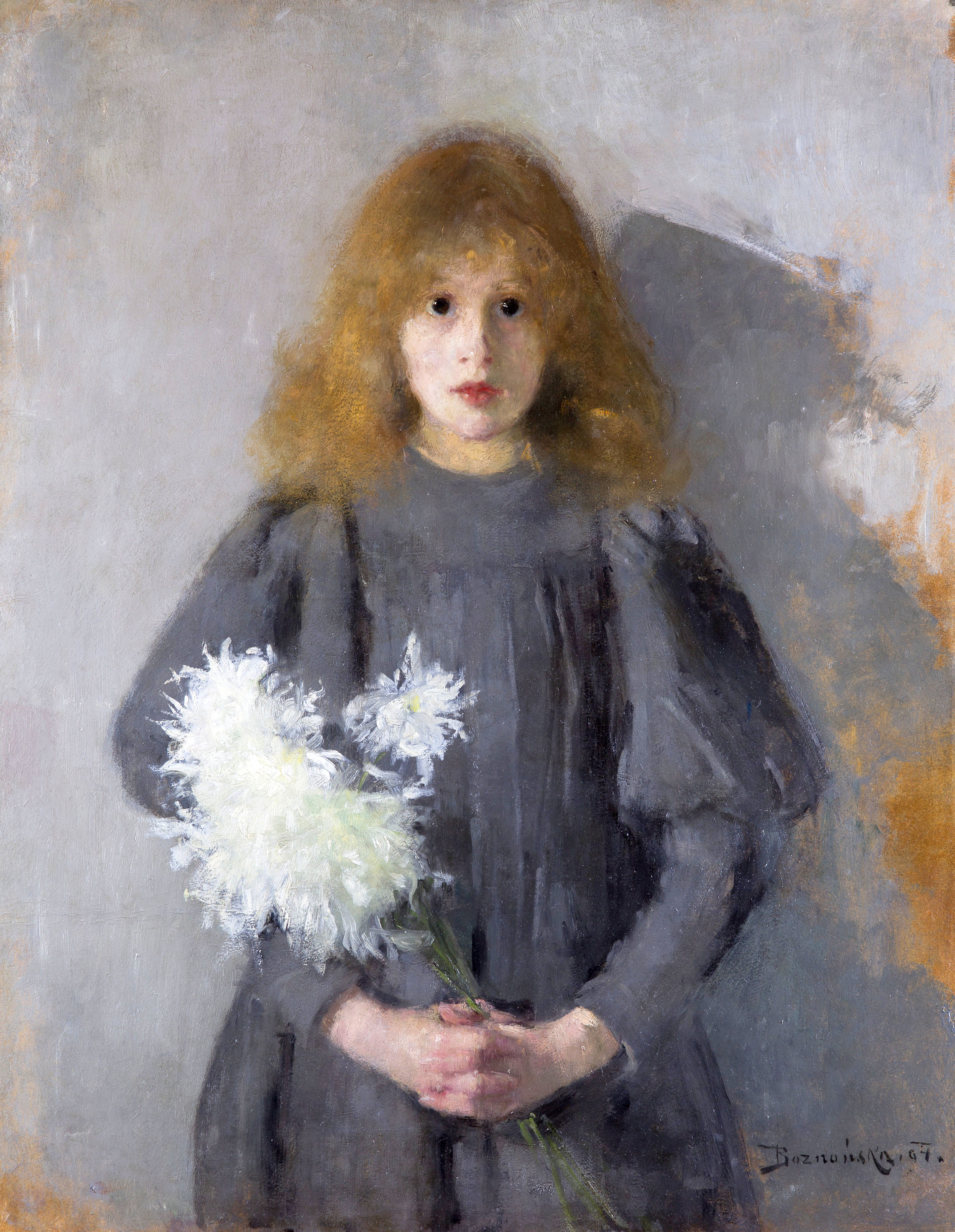 """Olga Boznańska (1865-1940) """"Dziewczynka z chryzantemami"""", 1894 rok, źródło: Muzeum Narodowe w Krakowie"""