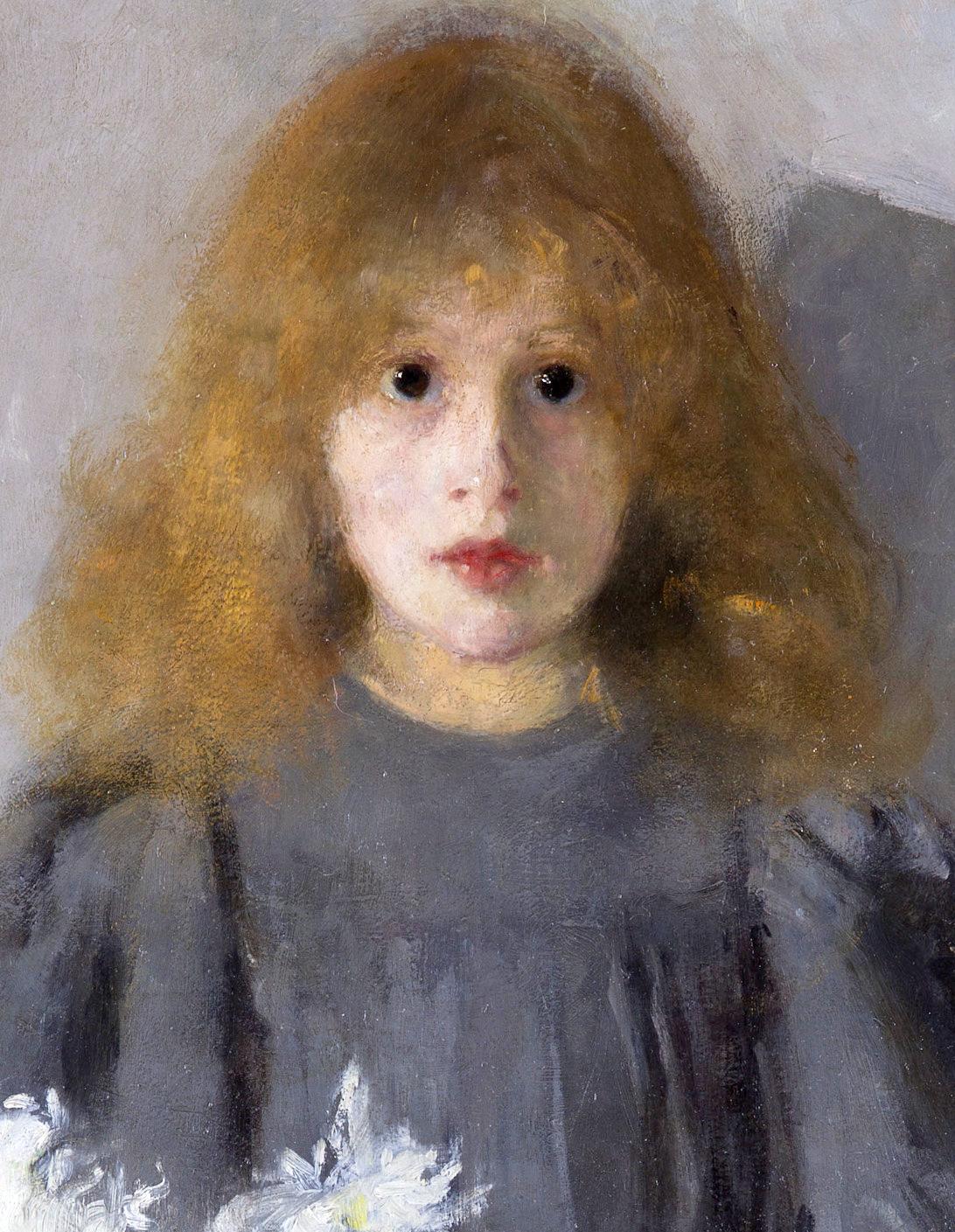 """Olga Boznańska (1865-1940) """"Dziewczynka z chryzantemami"""", fragment, 1894 rok, źródło: Muzeum Narodowe w Krakowie"""