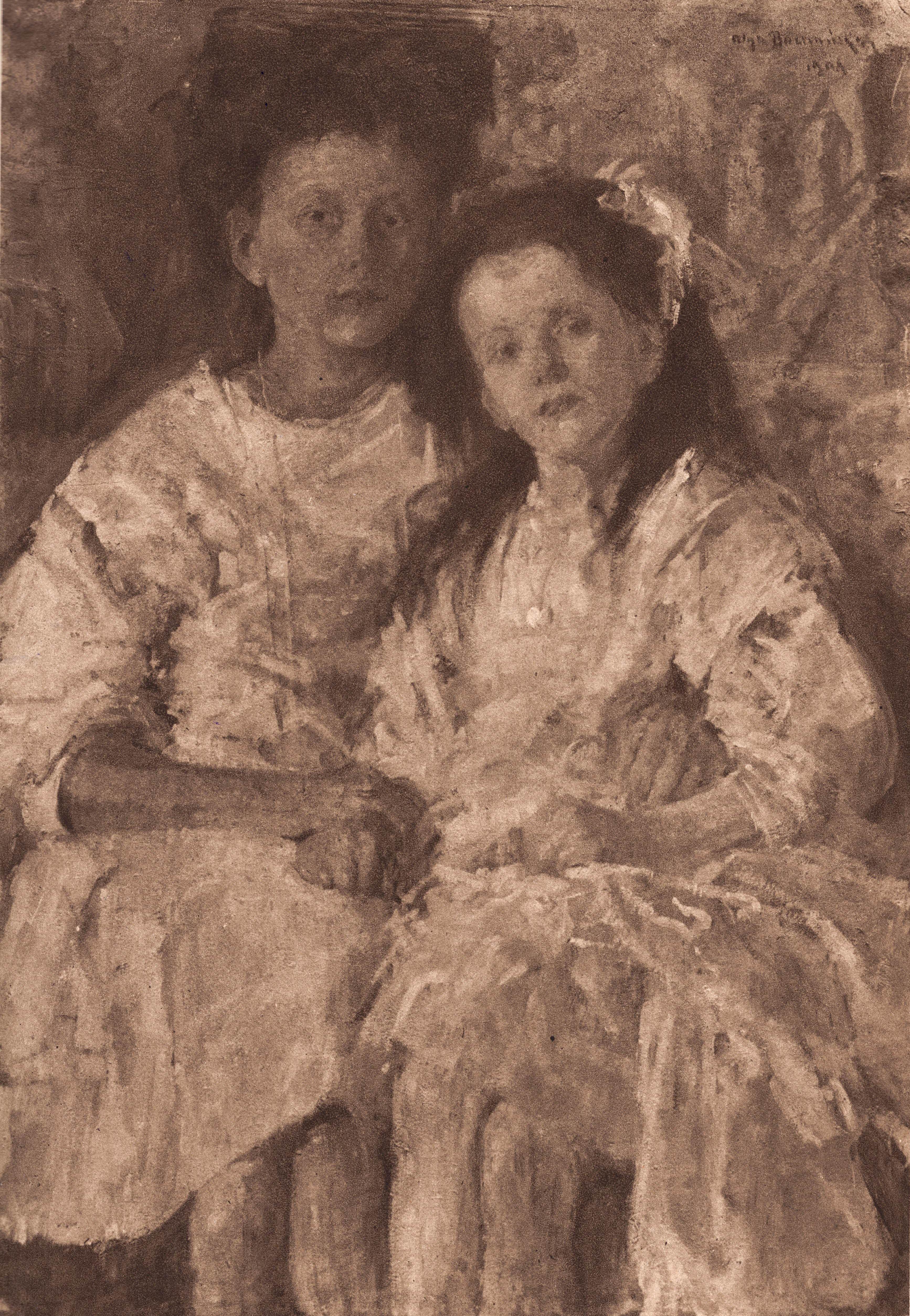 """Olga Boznańska (1865-1940) """"Portret dziewczynek Heleny i Władysławy Chmielarczyk"""", 1906 rok, reprodukcja ze """"Sztuk Pięknych"""" z 1925 roku, przed przemalowaniem"""