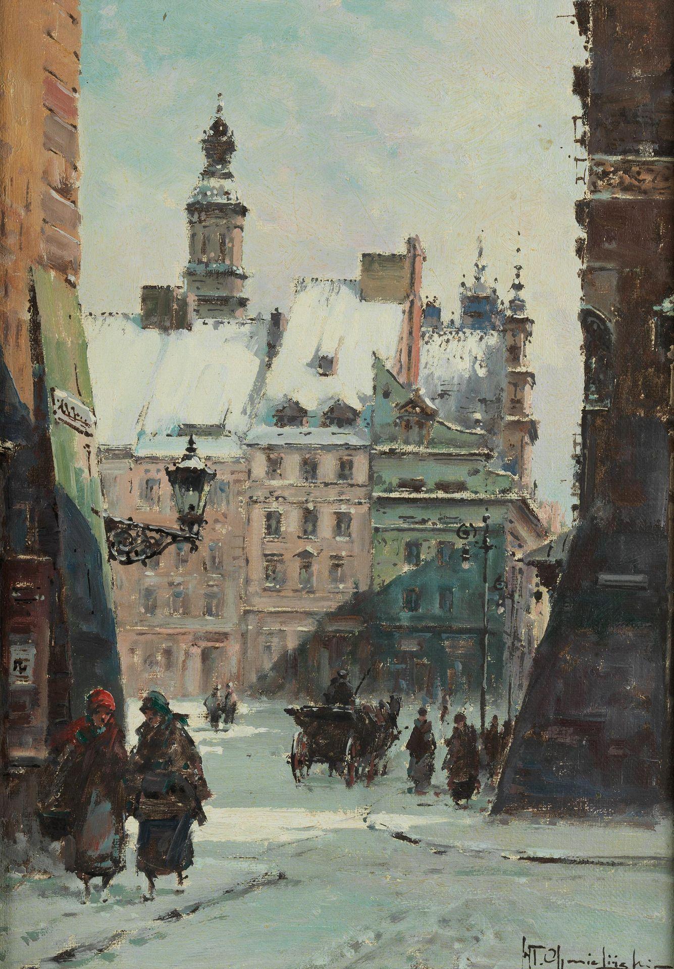 """Władysław Chmieliński (1911-1979) """"Zimowy widok na Rynek Starego Miasta w Warszawie"""", źródło: Hampel Fine Art Auctions"""