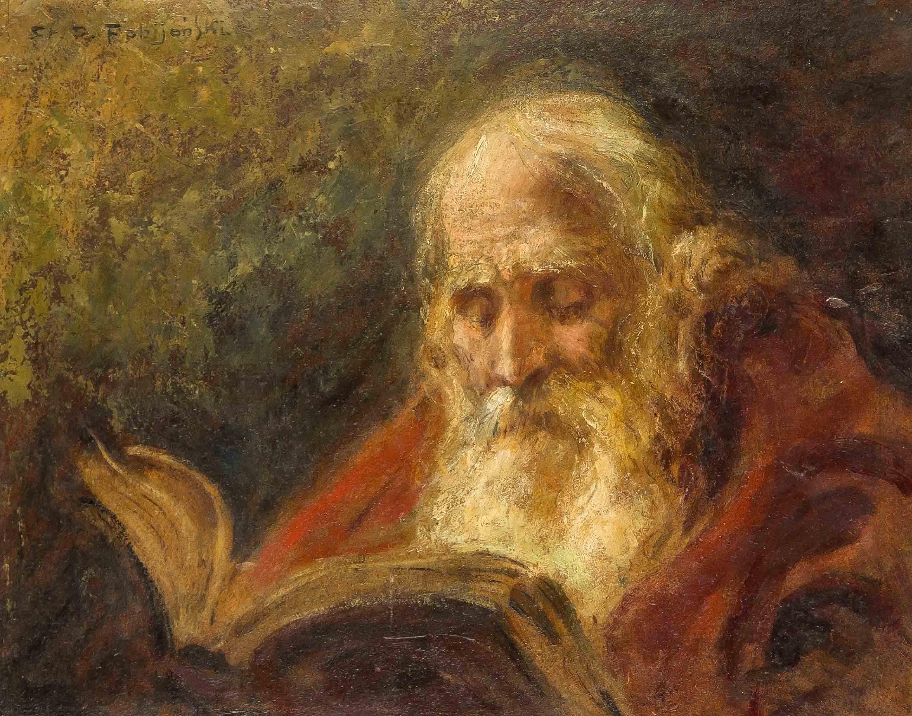 """Stanisław Ignacy Poraj Fabijański (1865-1947) """"Żyd nad torą"""", źródło: Historia Auctionata"""