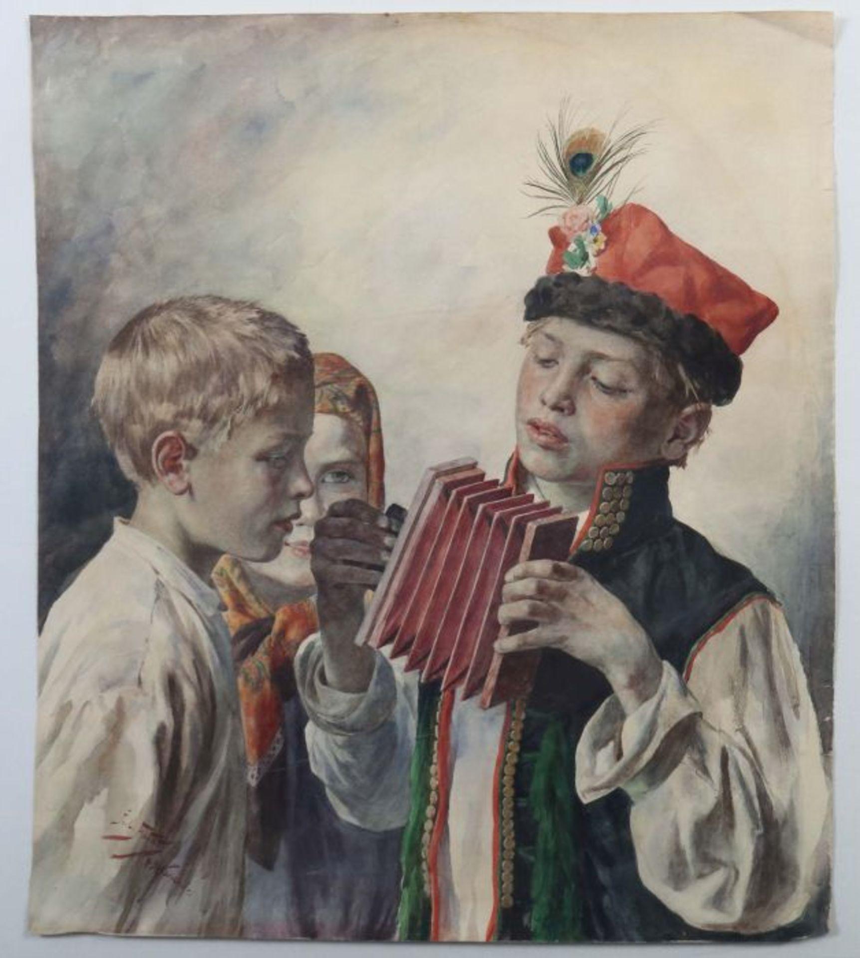 """Julian Fałat (1853-1929) """"Mały harmonista"""", źródło: Yves Siebers Auktionen"""