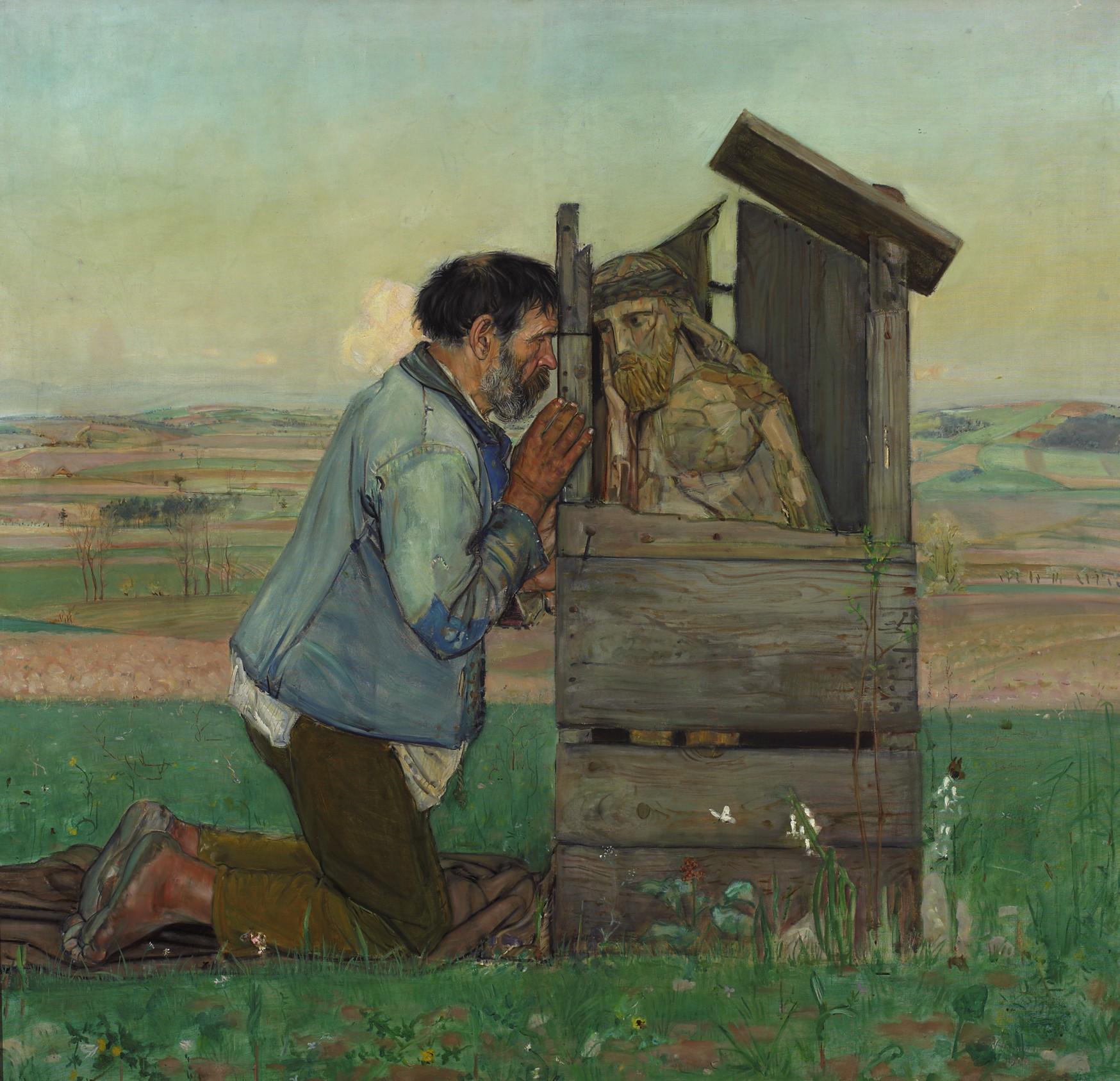 """Wlastimil Hofman (1881-1970) """"Spowiedź"""", 1906 rok, źródło: Muzeum Narodowe w Warszawie"""
