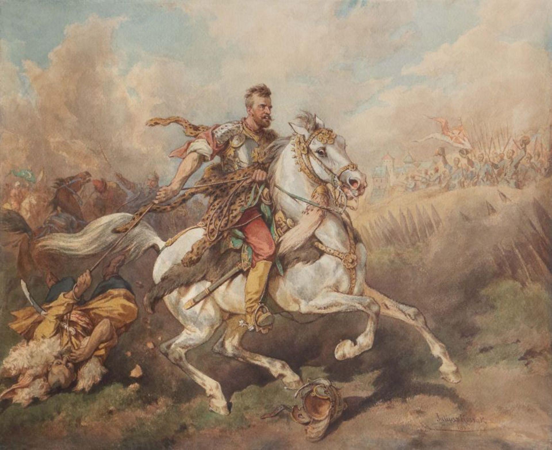 """Juliusz Kossak (1824-1899) """"Morsztyn pod Chocimiem"""", źródło: Yves Siebers Auktionen"""
