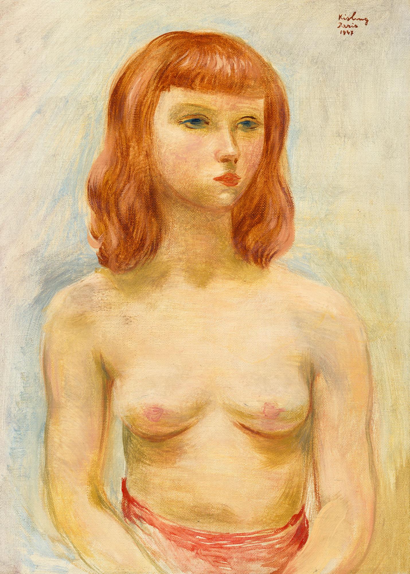 """Mojżesz Kisling (1891-1953) """"Portret rudowłosej"""" źródło: Christie's"""