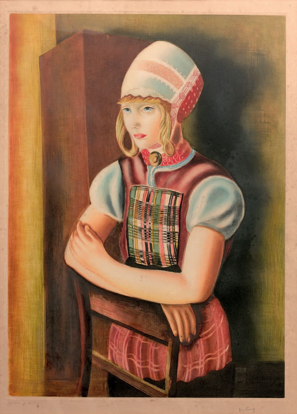 """Mojżesz Kisling (1891-1952) """"Młoda dziewczyna w stroju holenderskim"""", źródło: Jean-Marc Delvaux S.A.R.L."""