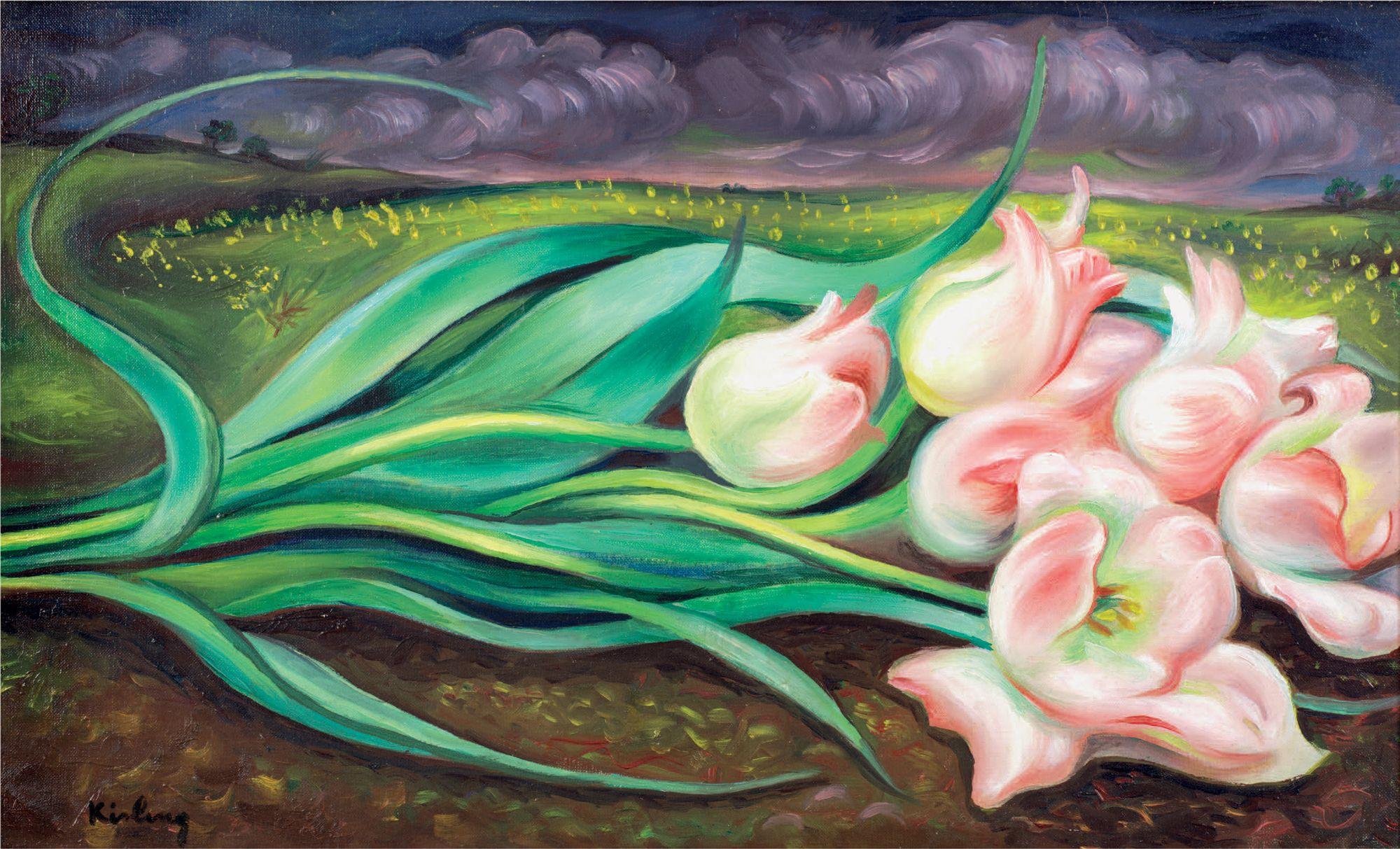 """Mojżesz Kisling (1891-1953) """"Tulipany na tle pejzażu"""", źródło: Kohn Marc-Arthur"""