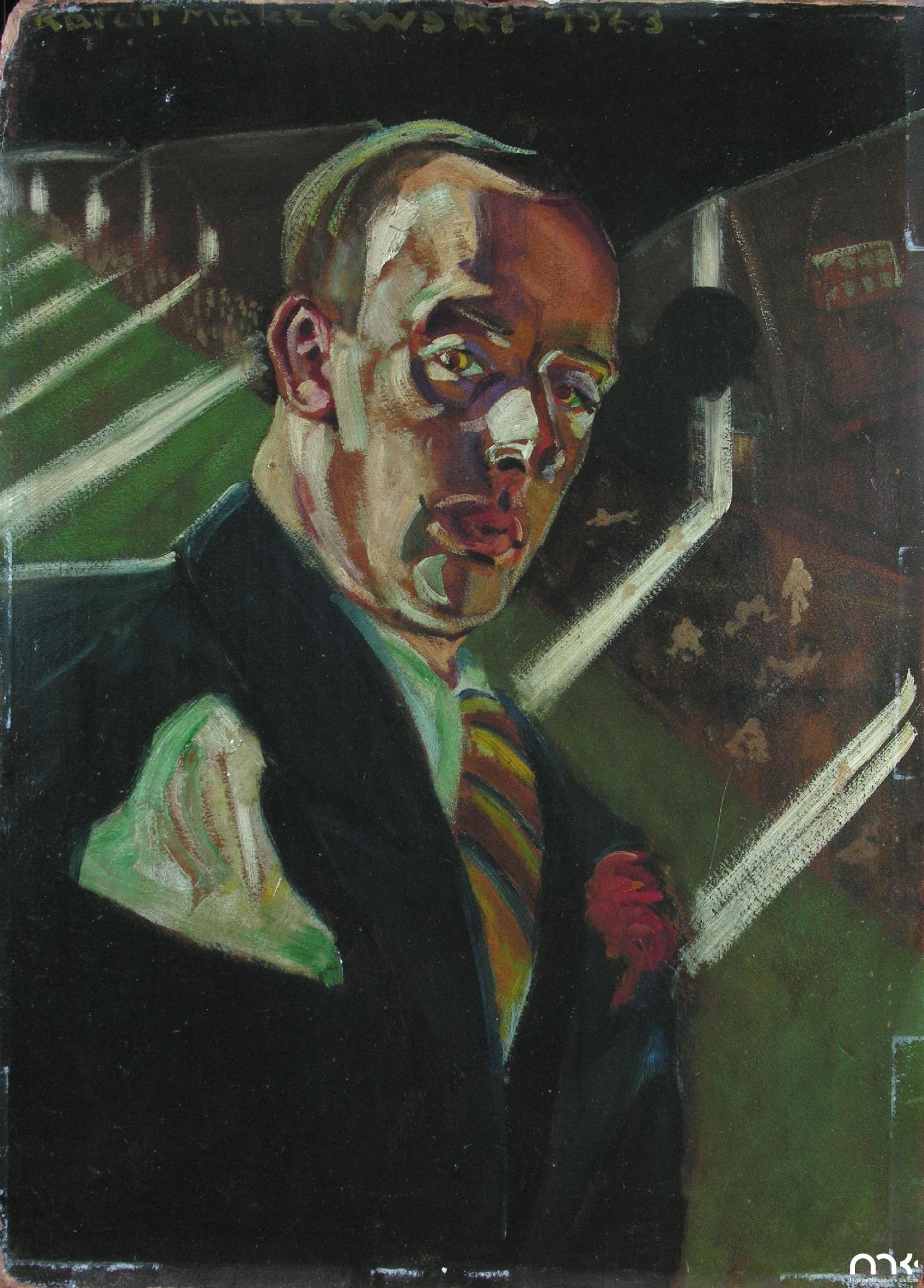 """Rafał Malczewski (1892-1965) """"Autoportret alegoryczny"""", 1923 rok, źródło: Muzeum Narodowe w Kielcach"""