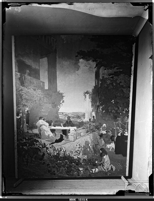 """Archiwalna fotografia przedstawiająca obraz """"Chrystus w Emaus"""" autorstwa Józefa Mehoffera, fot. Natan Krieger, przed 1898 rokiem, źródło: Muzeum Krakowa"""