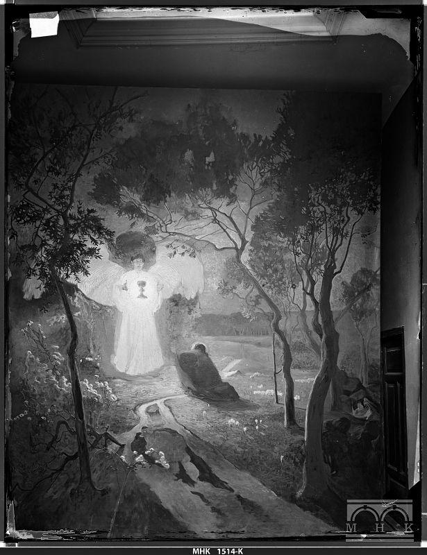 """Archiwalna fotografia przedstawiająca obraz """"Chrystus w Ogrójcu"""" autorstwa Józefa Mehoffera i Jana Stanisławskiego, fot. Natan Krieger, przed 1898 rokiem, źródło: Muzeum Krakowa"""