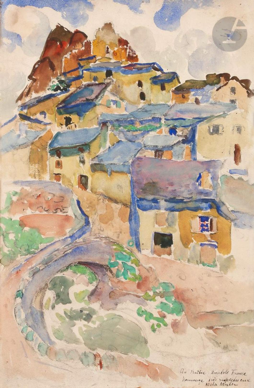"""Mela Muter (1876-1967) """"Miasteczko z południa Francji"""", źródło: Ader"""