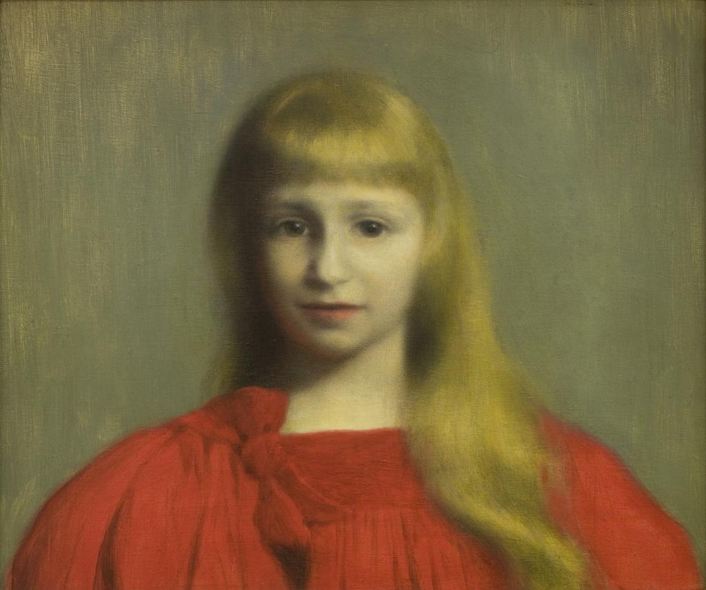 """Józef Pankiewicz (1866-1940) """"Dziewczynka w czerwonej sukience (Portret Józefy Oderfeldówny)"""", 1897 rok, źródło: Muzeum Narodowe w Krakowie"""