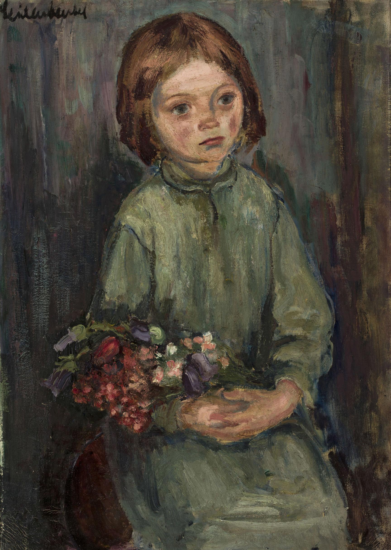 """Bracia Seidenbeutel (1903-1945) """"Portret dziewczynki z kwiatami"""", źródło: Muzeum Narodowe w Warszawie"""