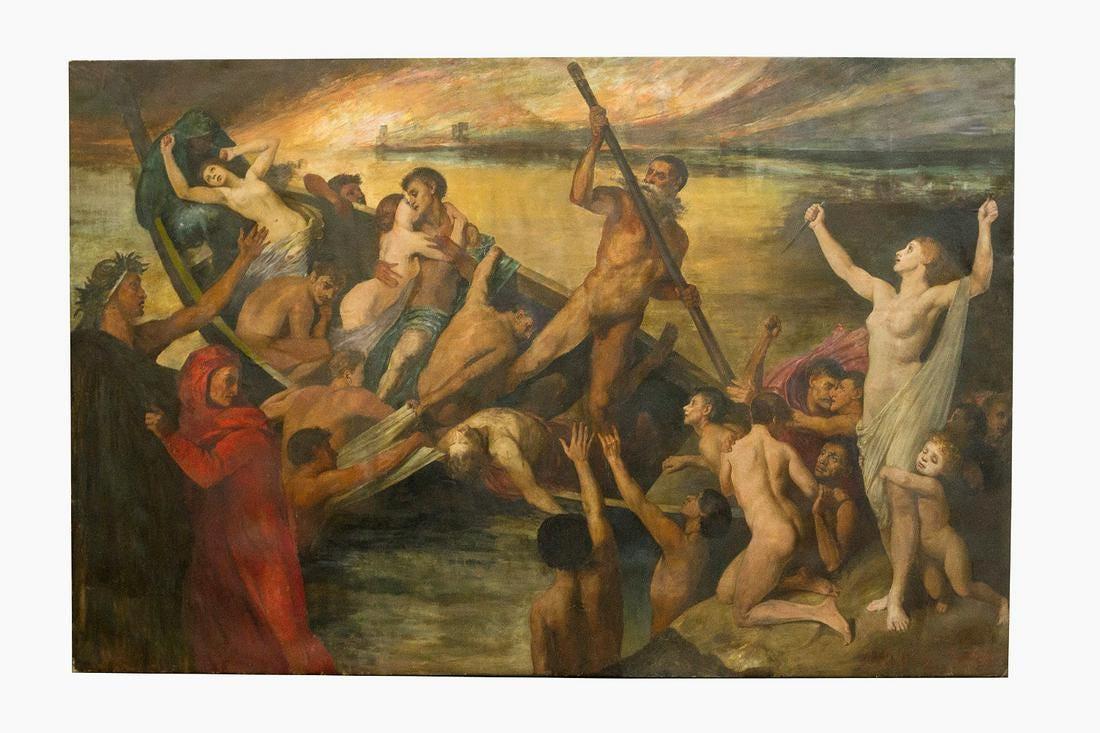 """Polski artysta (XIX wiek) """"Łódź Charona"""", źródło: Deutsch Auctioneers"""