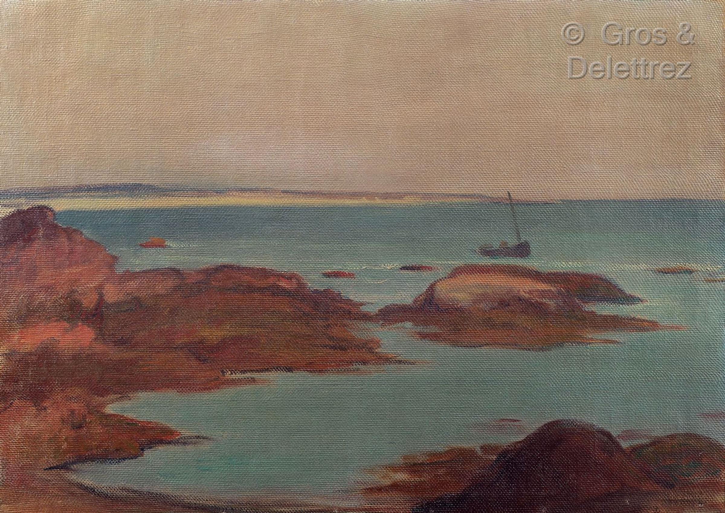 """Władysław Ślewiński (1856-1918) """"Pejzaż morski z widokiem Wyspy Czarownic"""", źródło: Gross & Delletrez"""