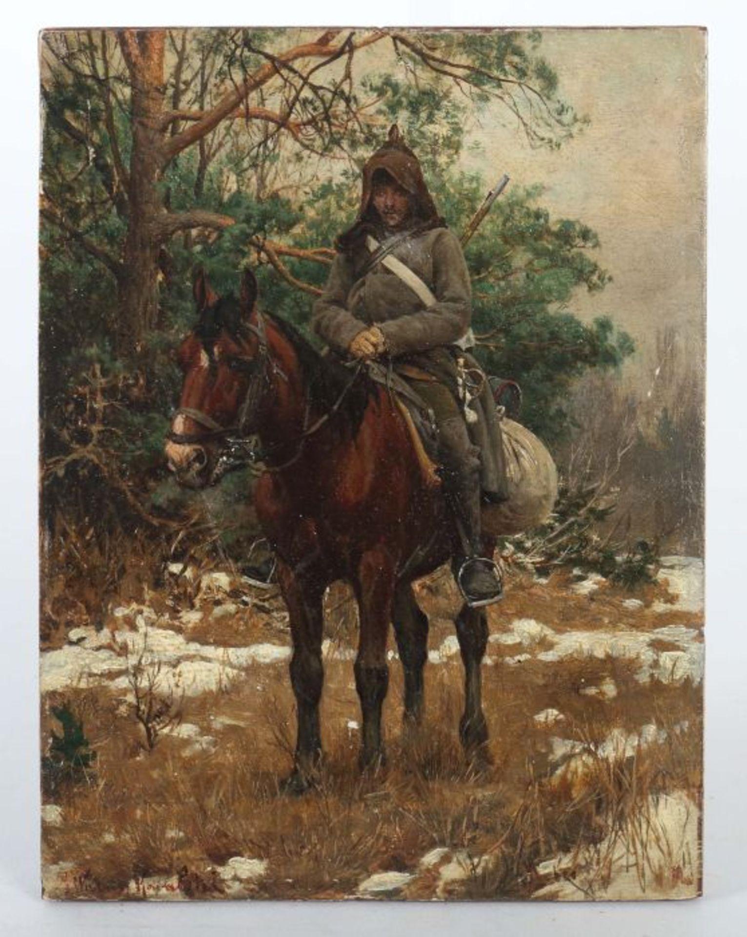 """Alfred Wierusz Kowalski (1849-1915) """"Konny patrol (Powstaniec)"""", źródło: Yves Siebers Auktionen"""