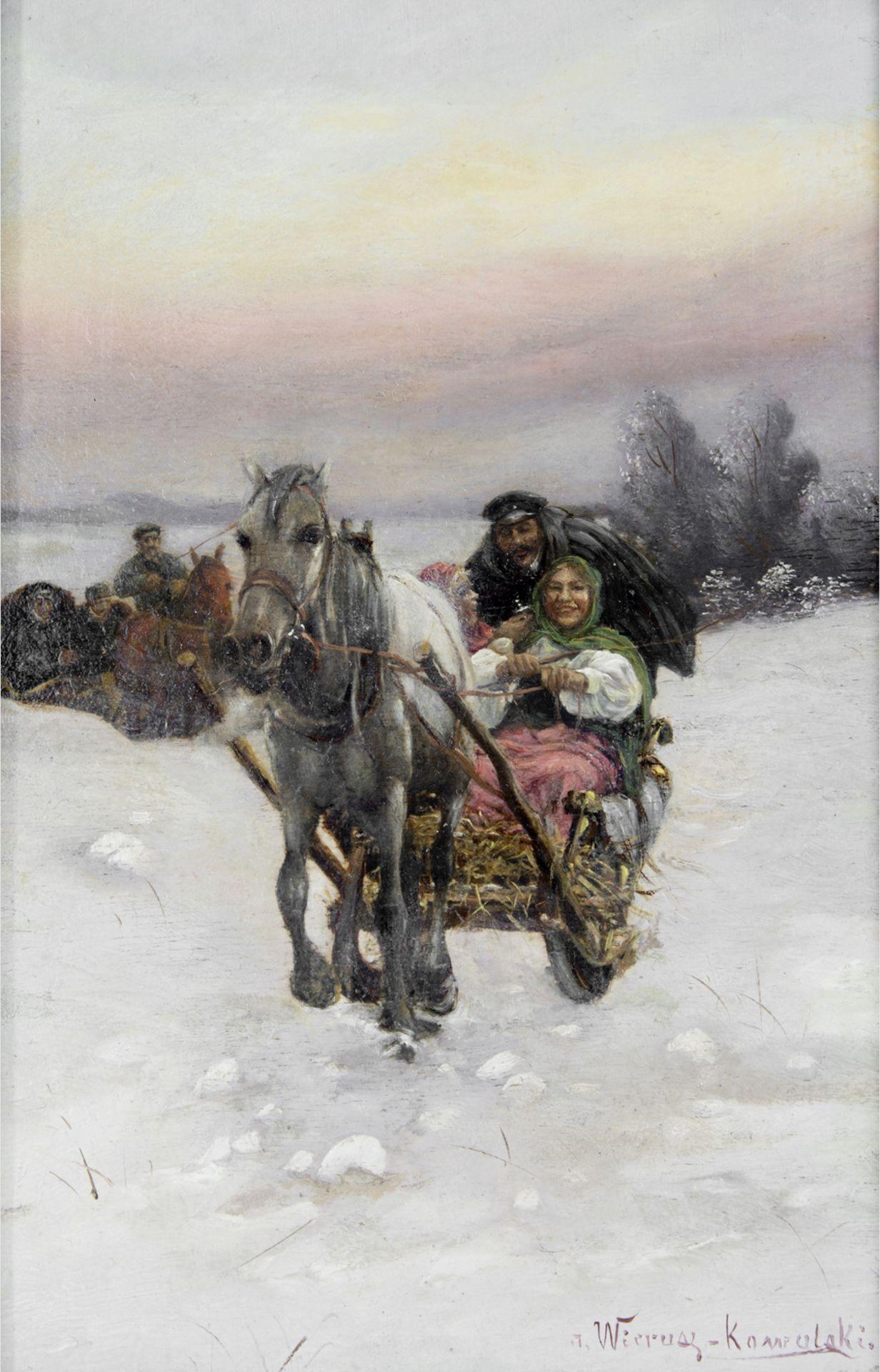 """Alfred Wierusz Kowalski (1849-1915) """"Wesoła sanna"""", źródło: Tiberius Auktionen"""