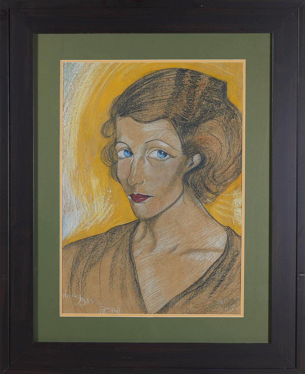 """Stanisław Ignacy Witkiewicz / Witkacy (1885-1939) """"Portret kobiecy, typ B"""", źródło: Charlton Hall"""