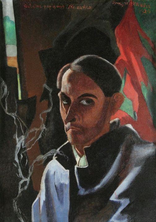 """Stanisław Ignacy Witkiewicz (1885-1939) """"Autoportret (Ostatni papieros skazańca)"""", 1924 rok, źródło: Muzeum Literatury im. Adama Mickiewicza w Warszawie"""