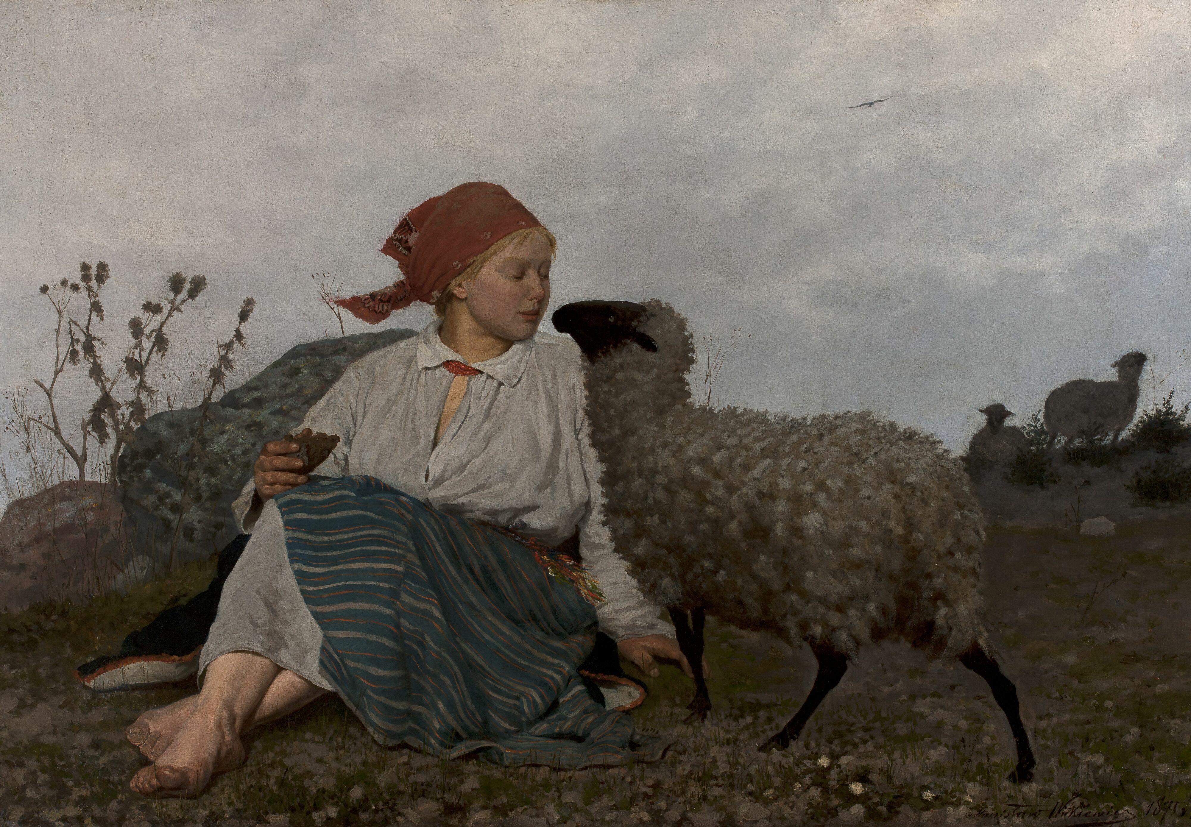 """Stanisław Witkiewicz (1851-1915) """"Na pastwisku"""", 1875 rok, źródło: Muzeum Narodowe w Warszawie"""