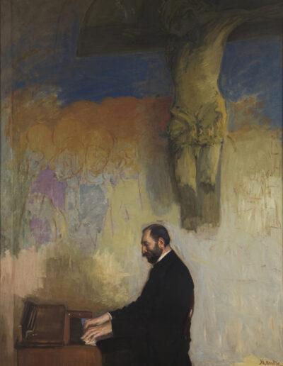 """Leon Wyczółkowski (1852-1936) """"Feliks Jasieński grający na organach"""", 1902 rok, źródło: Muzeum Narodowe w Krakowie"""